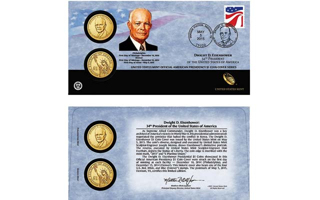 May 5 opens U.S. Mint sales of 2015 Dwight D. Eisenhower $1 Coin Cover