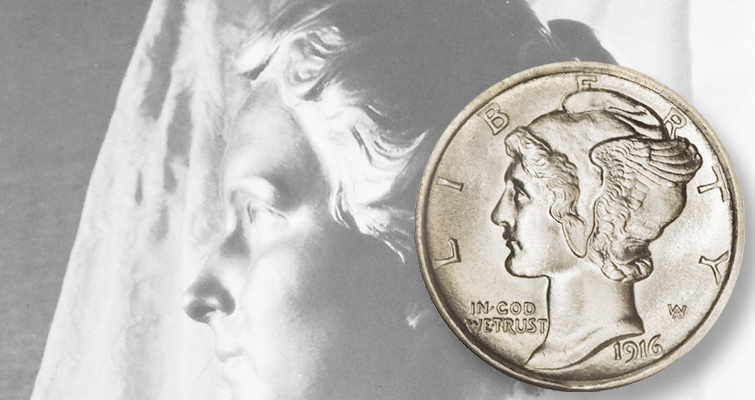 Elsie Stevens bust and Mercury dime