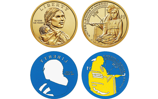 Color coded sketches indicate the different finishes on the dies for the 2014-D Enhanced Uncirculated Native American Dollar in the 2014 American Coin and Currency set being offered by the Mint.  The Uncirculated Mint set coin shown at top is only to illustrate the coin's design. In the sketch of the Enhanced Uncirculated coin die, white indicates a standard Uncirculated finish; blue, a standard laser-frosted finish; and yellow, a light laser-frosted finish.