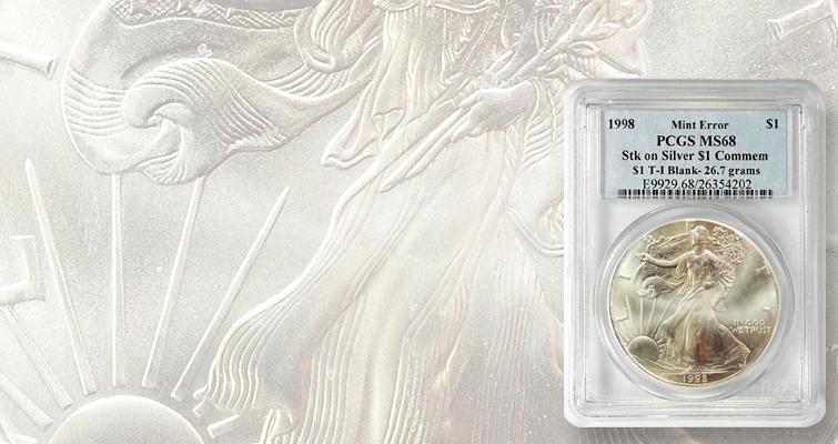 error-silver-american-eagle-on-commemorative-planchet-lead
