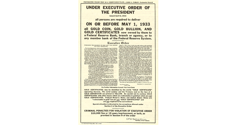 Executive Order 6012 of April 5, 1933