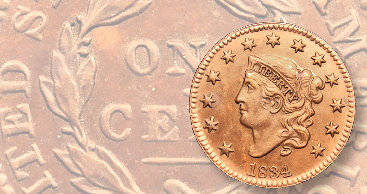 counterfeit 1834 Classic Head cent