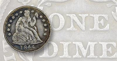 Phone 1844 Seated Liberty dime