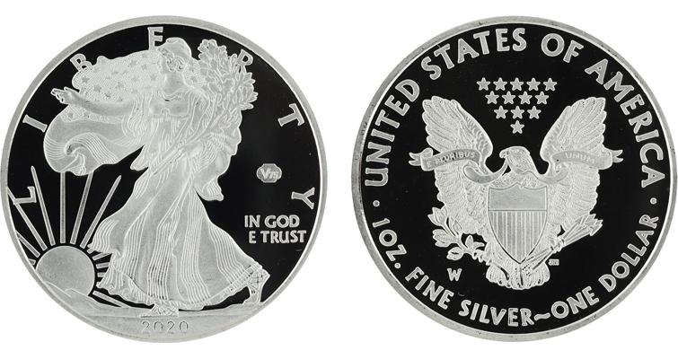 Phony 2020-W Proof American Eagle silver dollar