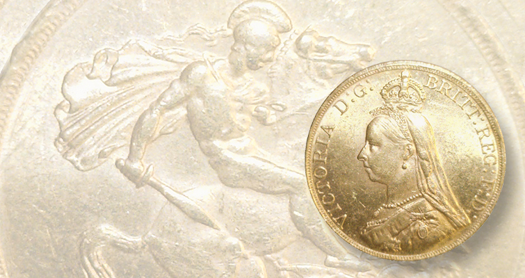 Incused line on British gold £5 aids identification: Detecting Counterfeits