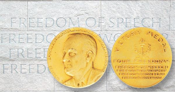 fdr-four-freedoms-gilt-medal-memorial-wall