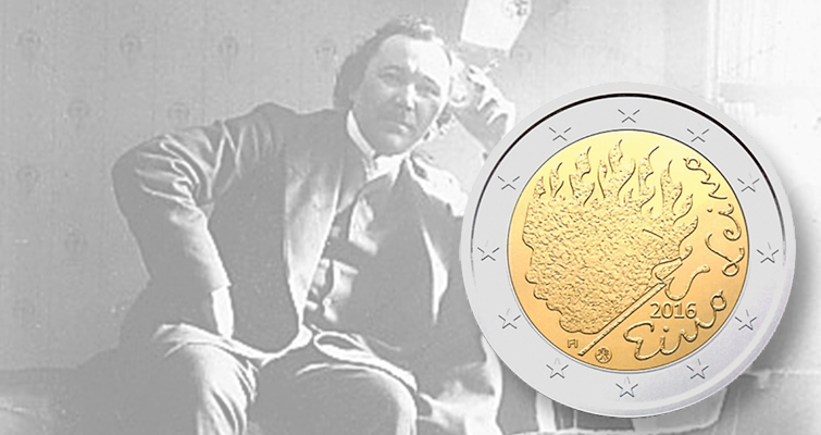 Finland honors poet Eino Leino on circulating €2 coin