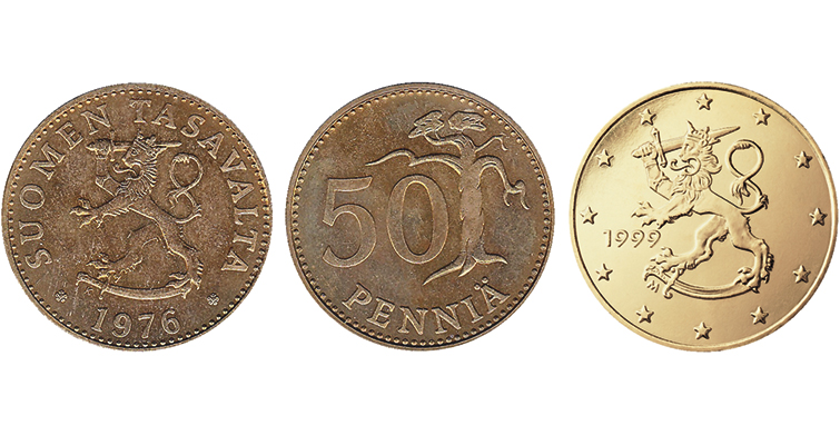 Finland's lion rampant seen on euros today has been on its coin for decades.