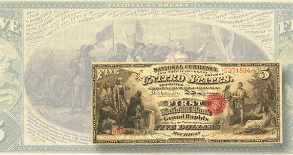 first-charter-5-dollar-national-bank-note-michigan-lead