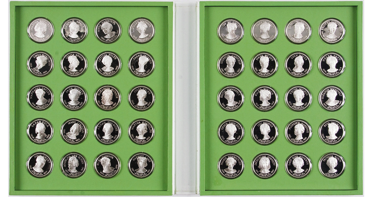 This 1971 set of 40 Franklin Mint medals honoring the first ladies of the United States contains 41 ounces of silver. It sold for $578.785 at auction in 2014, essentially its value as bullion. The original purchase price was $9.50 a medal, or $380 for the set.