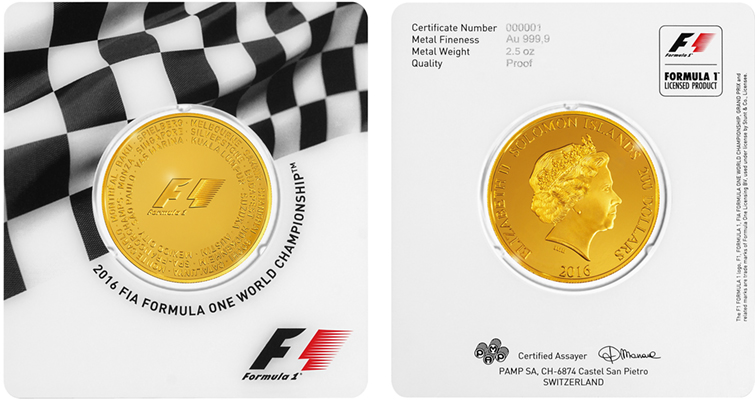 PAMP Formula 1  2.5-ounce gold $200 coin
