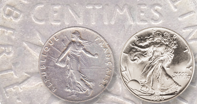 France's Sower influences America's Walking Liberty half dollar