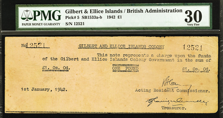 £1 note note shown above are from a rare complete Gilbert and Ellice Islands type set