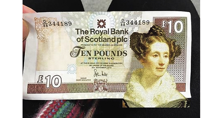 mock-up of a potential £10 note showing astronomer Mary Somerville