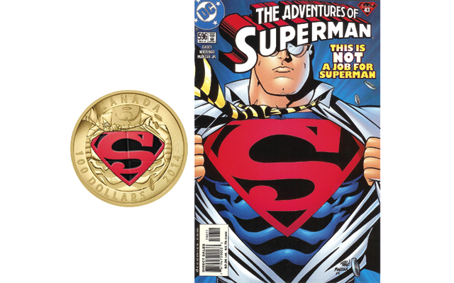 gold-100-dollar-coin-and-superman-cover