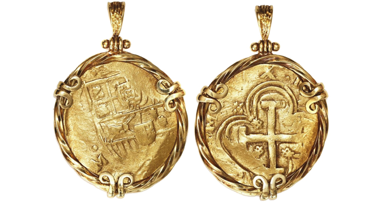 Gold coin jewelry always in fashion at auction coin world romantic legends of these coins being buried by pirates and features gold accents or emblems of crossed swords and a pirates skull on opposing sides aloadofball Choice Image