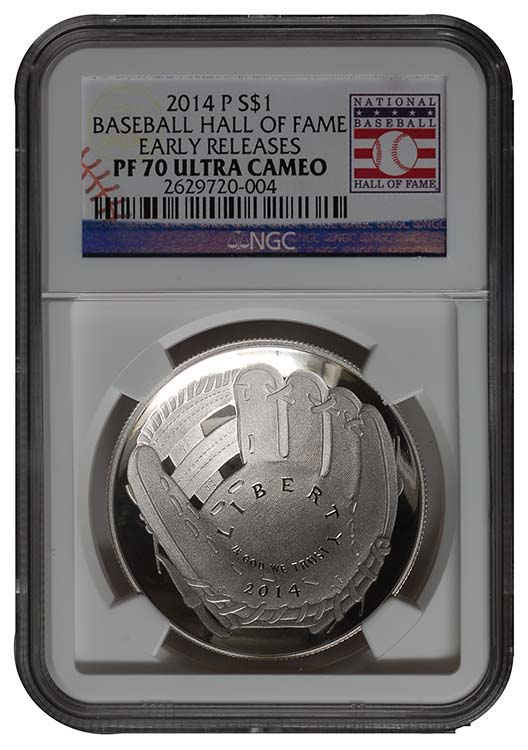 The 2014 Baseball Hall of Fame commemorative coins, which included this silver dollar, were popular in part due to their domed shape.
