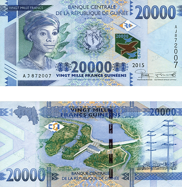 20,000-franc issue from Guinea