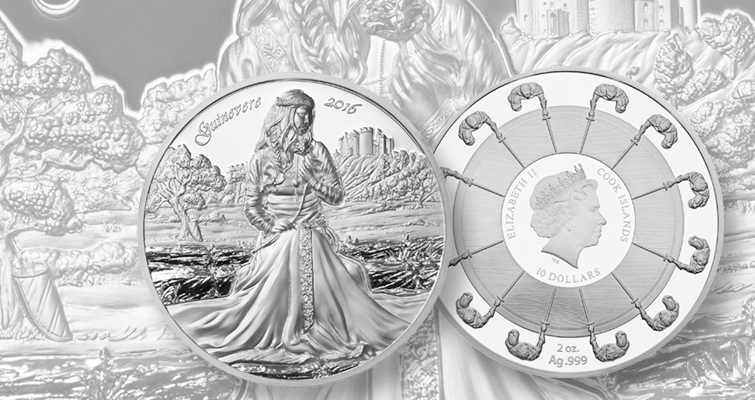 The second release in the Camelot series has just been launched by Choice Mint. The coin depicts Guinevere, wife of King Arthur. Pre-orders for the coin began on April 17. The Guinevere coin retails for $150 and is distributed through five retail coin companies around the world.