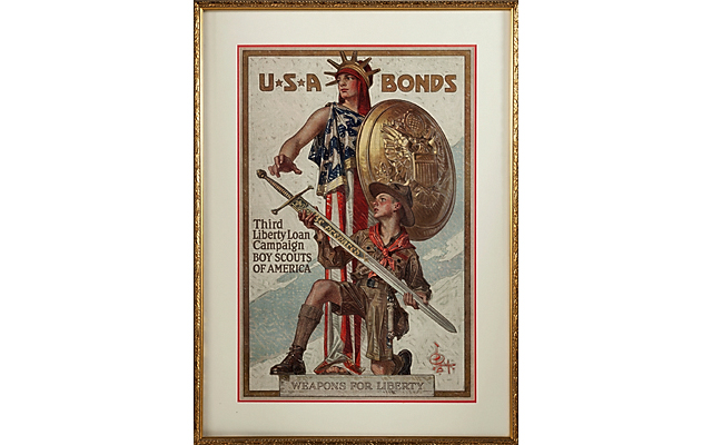 Framed WWI Liberty Loan Boy Scouts poster in Dec. 13 Heritage auction