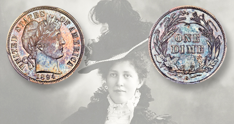 Hallie Daggett, the story goes, spent for ice cream one of the three 1894-S dimes her father gave her (from among the 24 coins struck). She is shown here about 1900. In the summer of 1913, she became the first woman United States Forest Service fire lookout, at Eddy's Gulch Lookout Station atop Klamath Peak in Klamath National Forest. She served for the next 14 or 15 years.