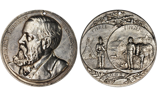 Seventh 76-mm silver Benjamin Harrison Indian Peace medal in yard sale