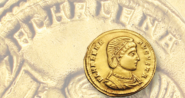 Saint Helena appears on the obverse of this gold solidus minted at Sirmium in 324 or 325. Heritage Auctions sold the coin for $29,900 in 2011.