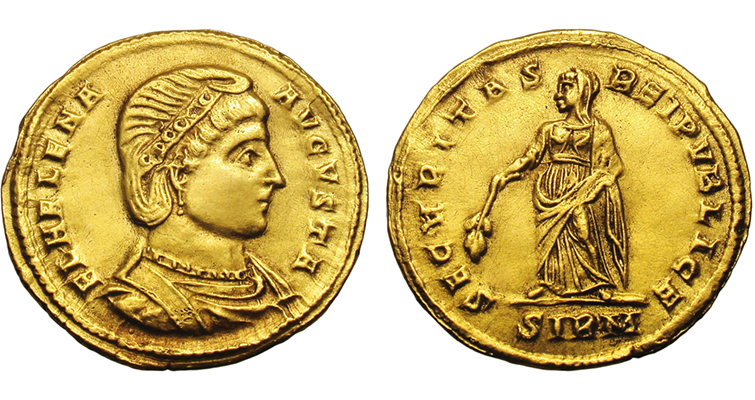 This gold solidus minted at Sirmium (a city in Pannonia, an ancient province of the Roman Empire) in 324 or 325 features Constantine the Great's mom, who is now revered as a saint in some circles. This coin sold for $29,900 in 2011, but other coins depicting Helena from her lifetime can be found for as little as $5 to $10 each.