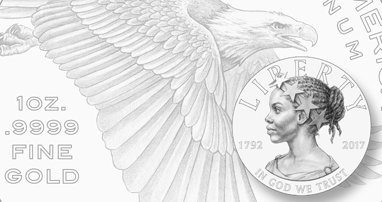 Whichever designs receive final approval from the Treasury secretary for the 2017 American Liberty High Relief .9999 fine gold $100 coin,  the same designs will be used also for the .999 fine silver companion medal, except without the coin inscriptions.
