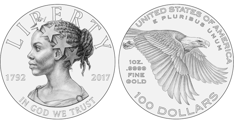 The CCAC recommends an obverse depicting a profile of Liberty as an African-American woman wearing a crown of stars, a nod to the Statue of Freedom atop the U.S. Capitol dome. The reverse the group likes depicts a bold and powerful eagle in flight, its eyes focused toward opportunity, with a determination to attain it.