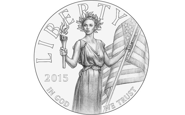 The CCAC recommends this design for the obverse of the planned 2015 High Relief gold coin and silver medal, though with some changes. The design is also one of two recommended for the coin by the CFA.