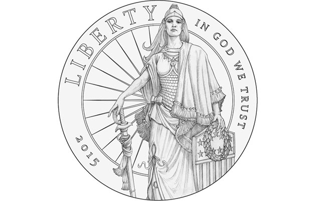 This proposed design for the 2015 High Relief gold $75 coin is clearly based on the Statue of Freedom that stands atop the U.S. Capitol dome, but it also throws off a Wonder Woman vibe, at least to this blogger.