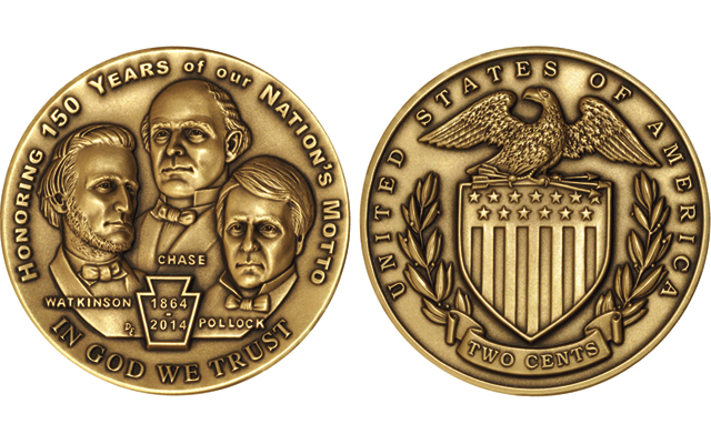 Private medals commemorate 1864 anniversary of 'In God We Trust' on 2-cent coins
