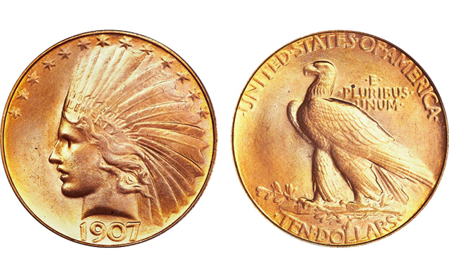 This PCGS MS65 1907 $10 Rolled Edge eagle sold for $195,500 at auction in 2011.