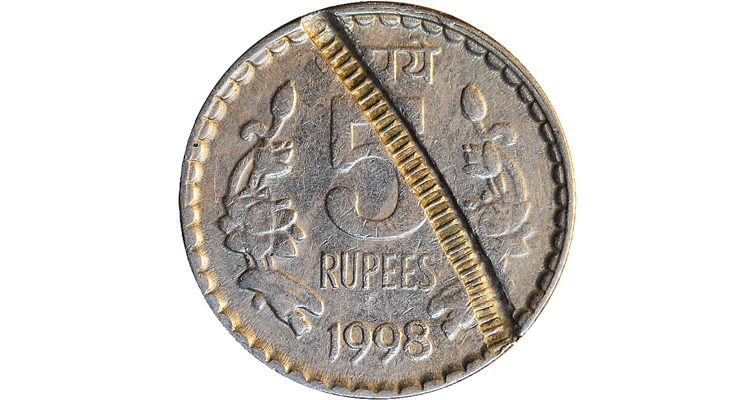 india-five-rupee-coin-strike-through-error