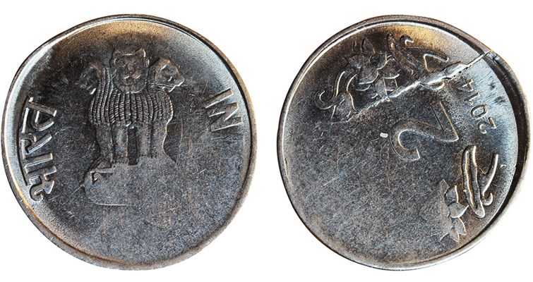 2014 India 2-rupee coin with 128 degree rotated die error