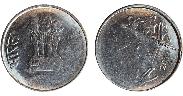2014 India 2-rupee coin 65 degree rotated die error obverse and reverse