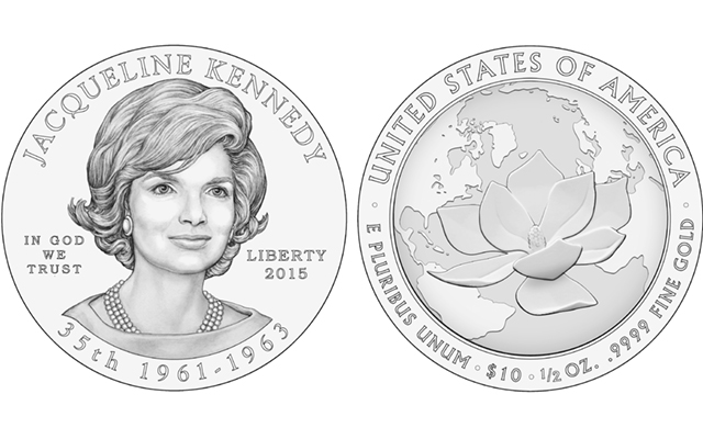 The Citizens Coinage Advisory Committee recommended the above designs Sept. 23 for the 2015 Jacqueline Kennedy First Spouse gold coins.
