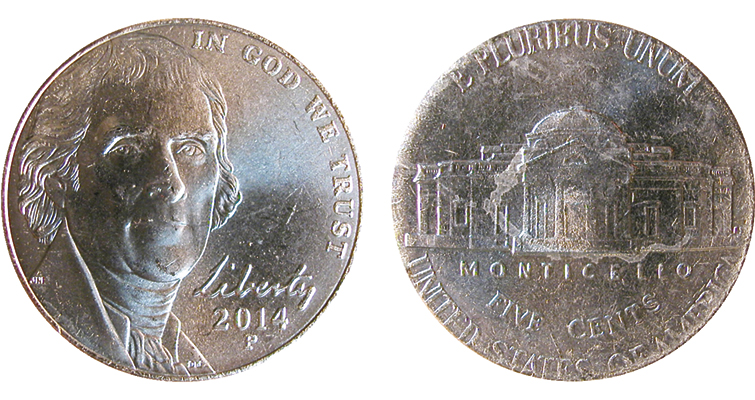2014-P Jefferson 5-cent coin design creep error obverse and reverse