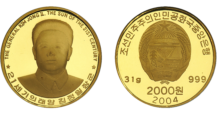 This 2004 North Korean 2000-won coin, which Numismatic Guaranty Corporation graded Proof 69 Ultra Cameo, realized $690 in the Ira and Larry Goldberg Auctioneers Pre-Long Beach Coin and Currency Auction held Sept. 10 through 13, 2006. The firm had estimated its value at $550 to $650.