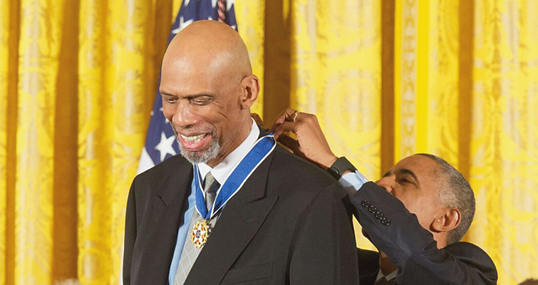 Kareem Abdul-Jabbar received Presidential Medal of Freedom from President Obama on Nov. 22, 2016. Abdul-Jabbar, a coin collector, has been named to the Citizens Coinage Advisory Committee.