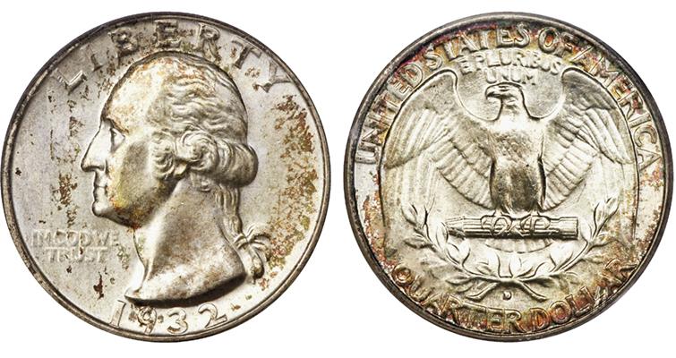 key-date-1932-d-toning-washington-quarter-obverse-reverse