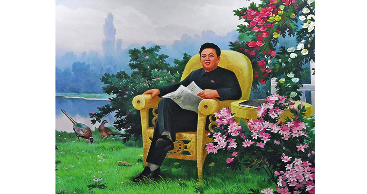 A North Korean poster shows Kim Jong-il in a serene setting, apparently enjoying his morning paper and companionable pheasants, as an estimated 1 million to 3 million North Koreans were starving to death in a famine during the early years of his reign.
