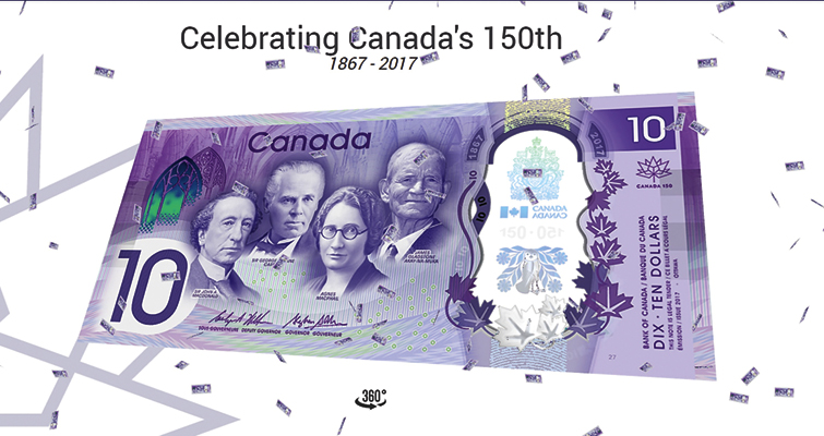 What does a Konami Code have to do with the Canada 150th anniversary $10  bank note?