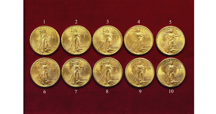 Group images of 10 1933 Saint-Gaudens double eagles