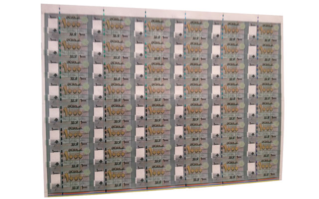 Bank of Lebanon selling uncut bank note sheets at World Money Fair in Berlin