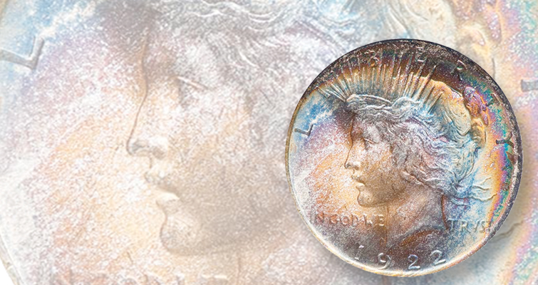 For some reason, 1922 Peace dollars tone — and sell — well.