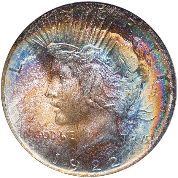 On Jan. 25, 2018, this 1922 Peace Dollar with rainbow toning sold with an $8,812.50 bid, more than $8,400 above its $400 retail price