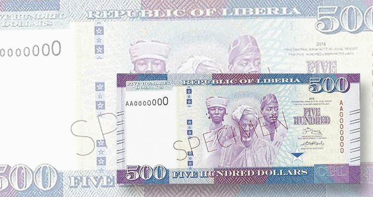 Central Bank of Liberia $500 note