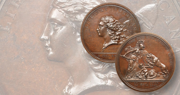 Example of Whitman's No. 1 American medal, the Libertas Americana, brings $5,640